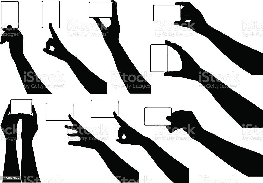 Hands holding business cards vector art illustration