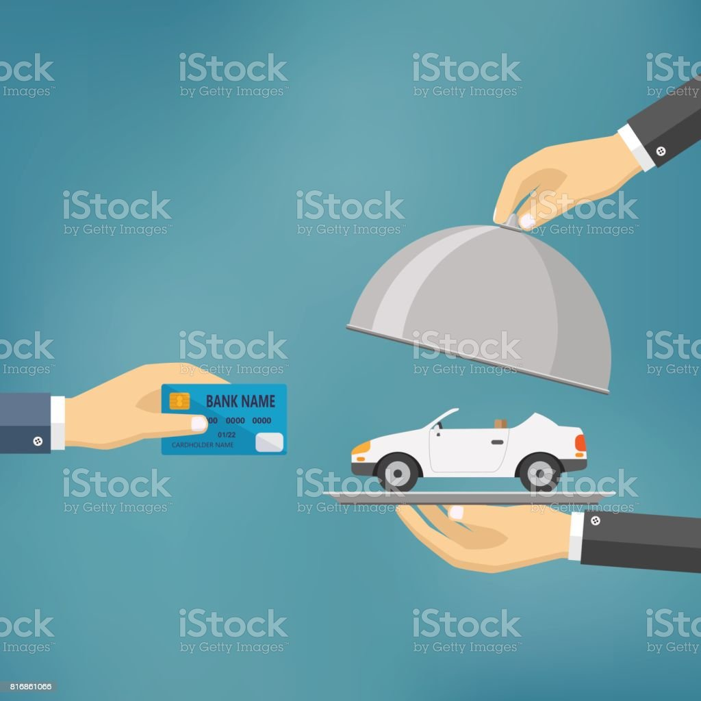 Hands holding credit card and cloche with car. vector art illustration