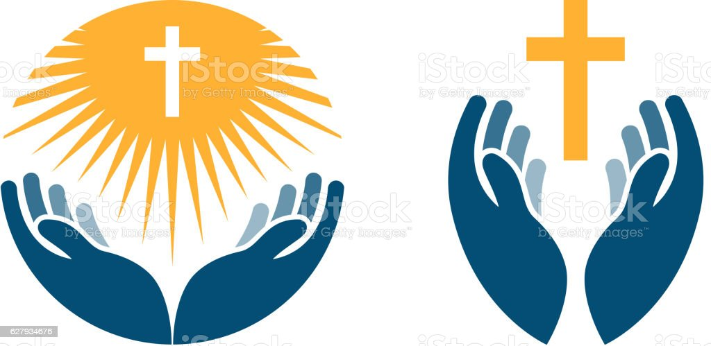 Hands holding Cross, icons or symbols. Religion, Church vector logo...