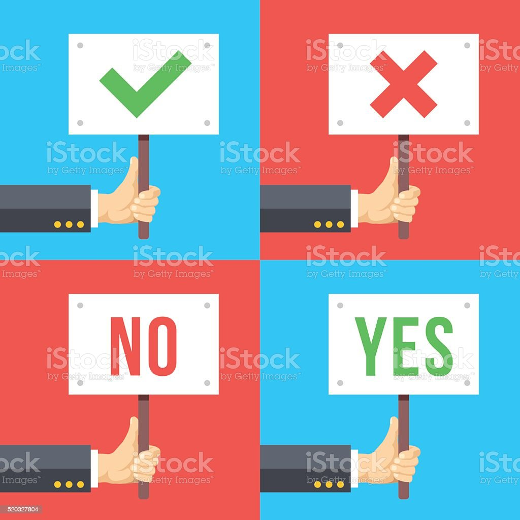 Hands holding different signs set. Success, satisfaction, protest, elections concepts vector art illustration