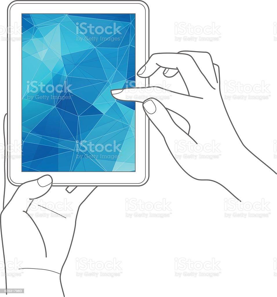 Mãos segurando um computador tablet digital vetor e ilustração royalty-free royalty-free