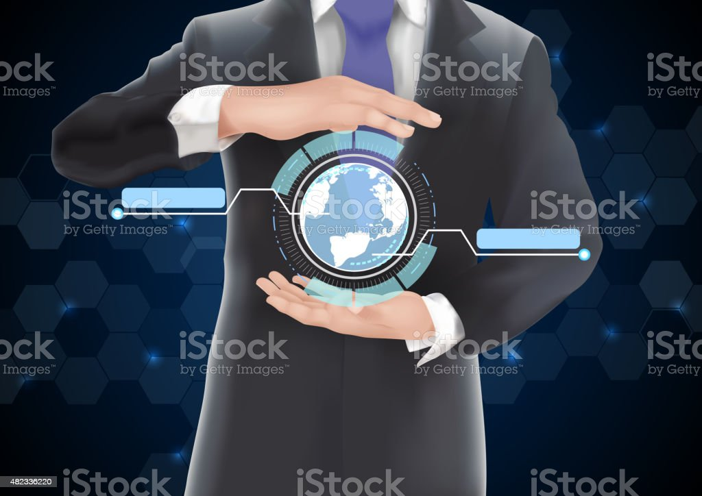 Hands holding earth of background on blue and black vector art illustration