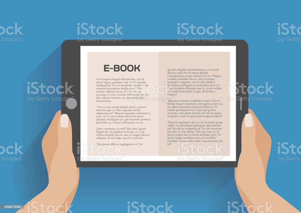 Hands holding electronic book vector art illustration