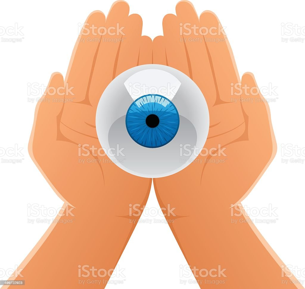 Hands Holding Eye royalty-free stock vector art