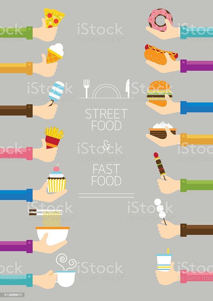 Hands Holding Food vector art illustration
