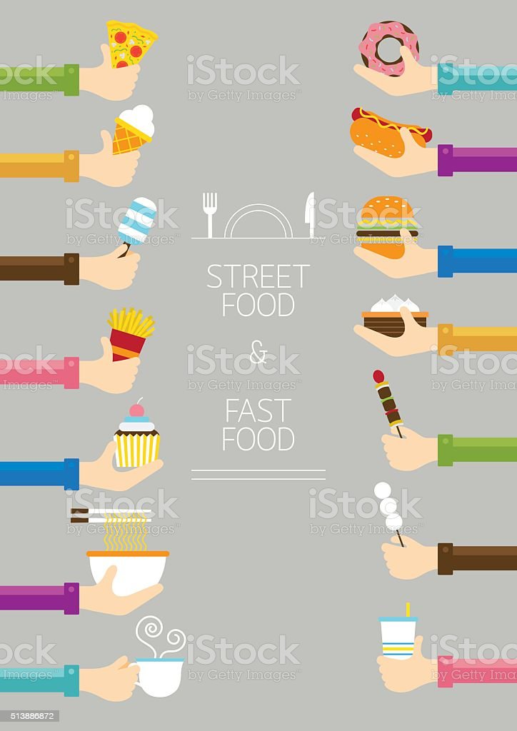 Hands Holding Food vector art illustration