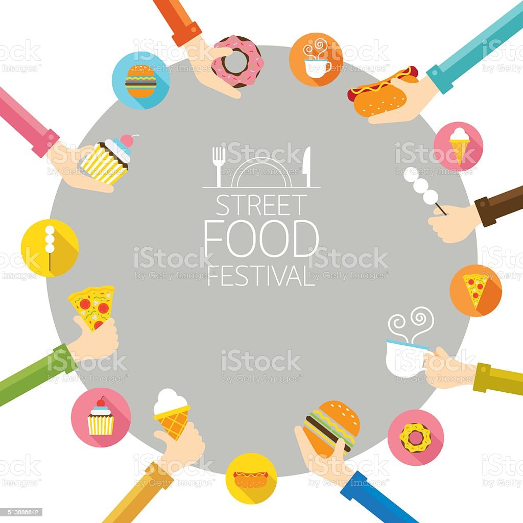 Hands Holding Food with Icons Frame vector art illustration