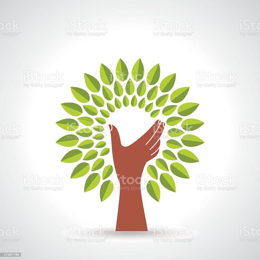 Hands holding green leaf, vector icon vector art illustration