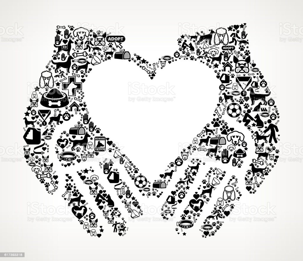 Hands Holding Heart Dog and Canine Pet Black Icon Pattern vector art illustration