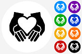 Hands Holding Heart Icon on Flat Color Circle Buttons