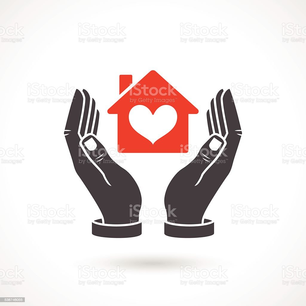 Hands Holding House Symbol With Heart Shape vector art illustration