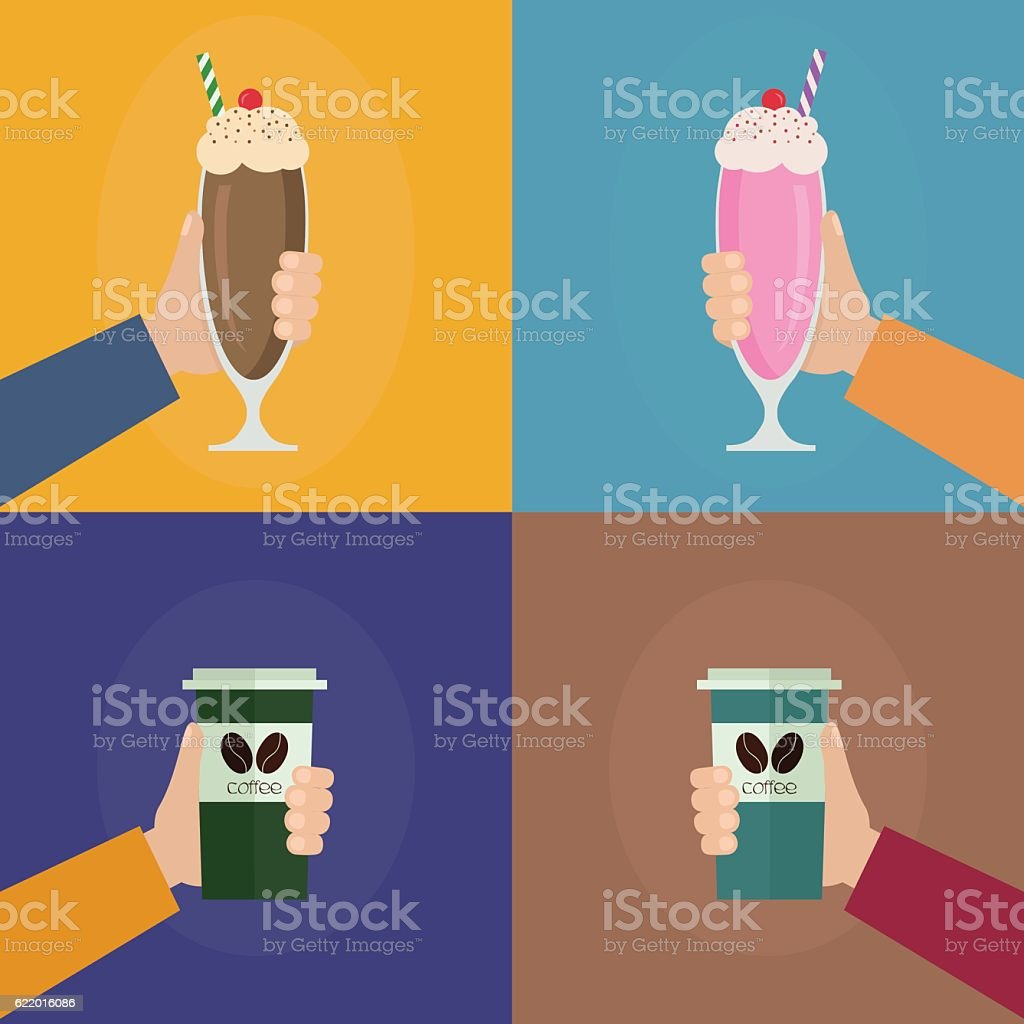 Hands holding milkshake and coffee cup vector art illustration