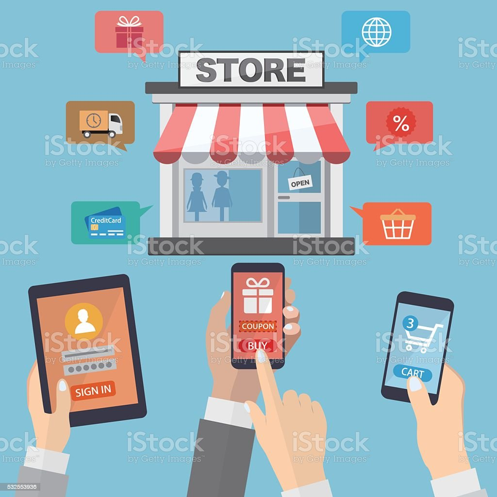 Hands holding mobile devices and online shopping vector art illustration