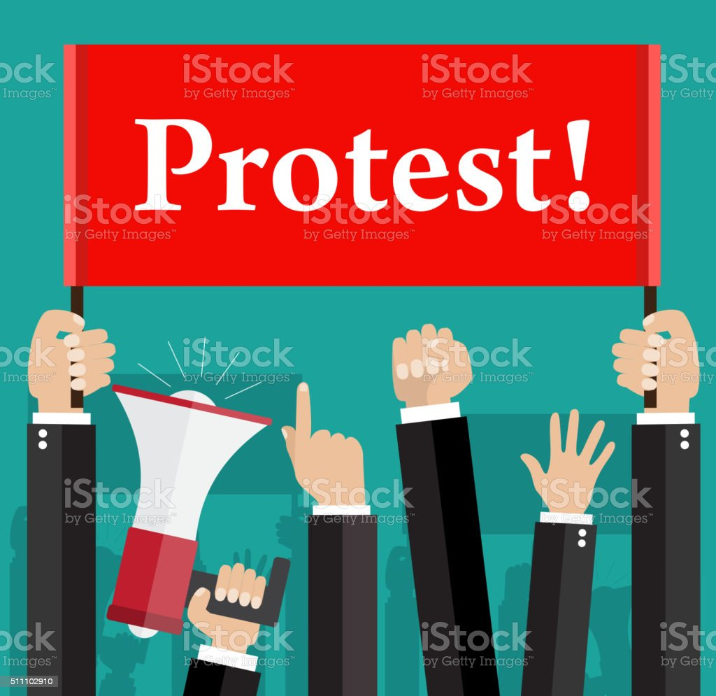 Hands holding protest signs and bullhorn vector art illustration