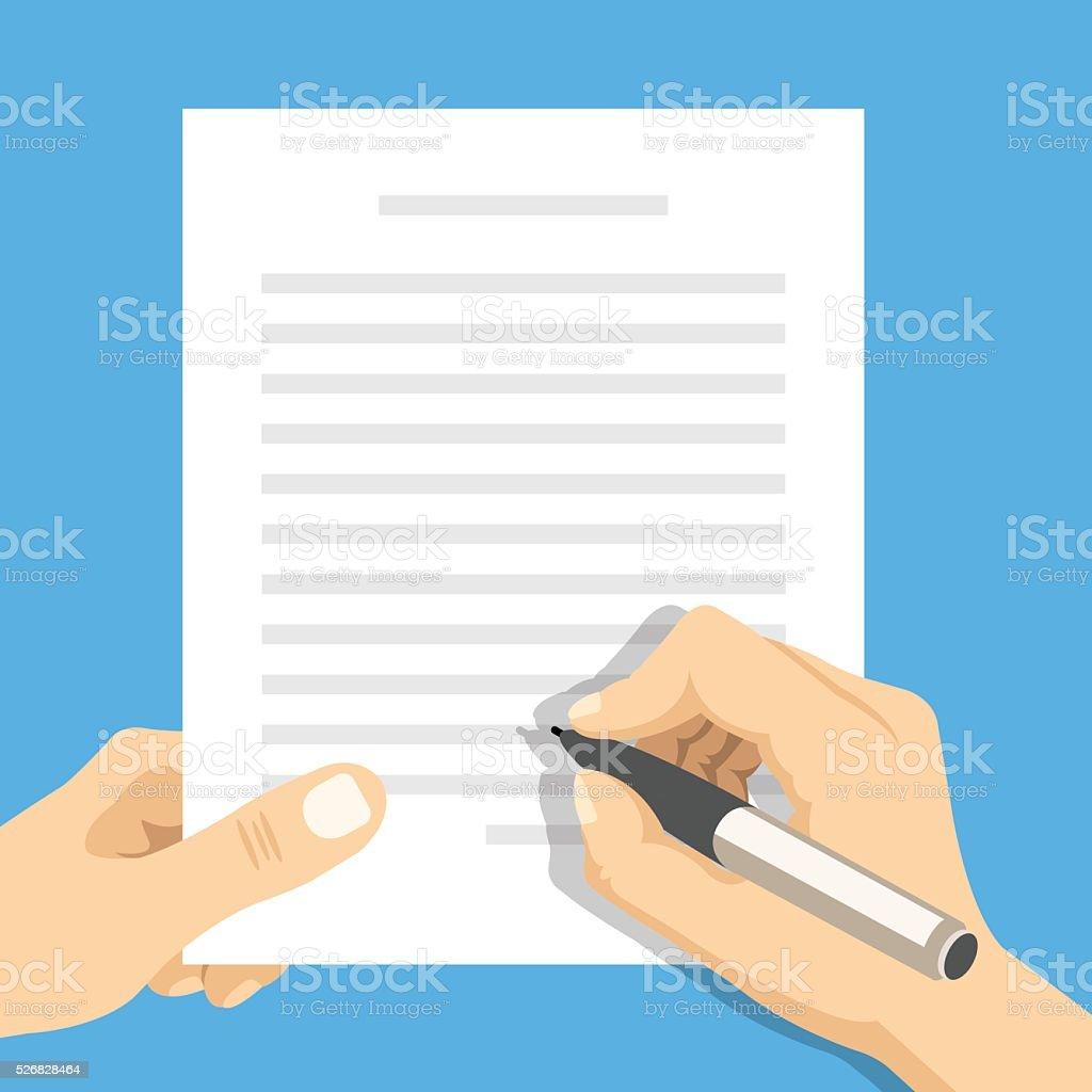 Hands holding sheet of paper and pen. Flat vector illustration vector art illustration