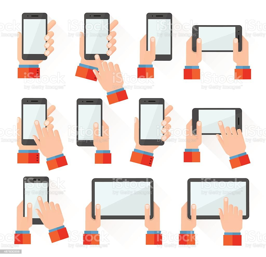 Hands holding smart phones vector art illustration