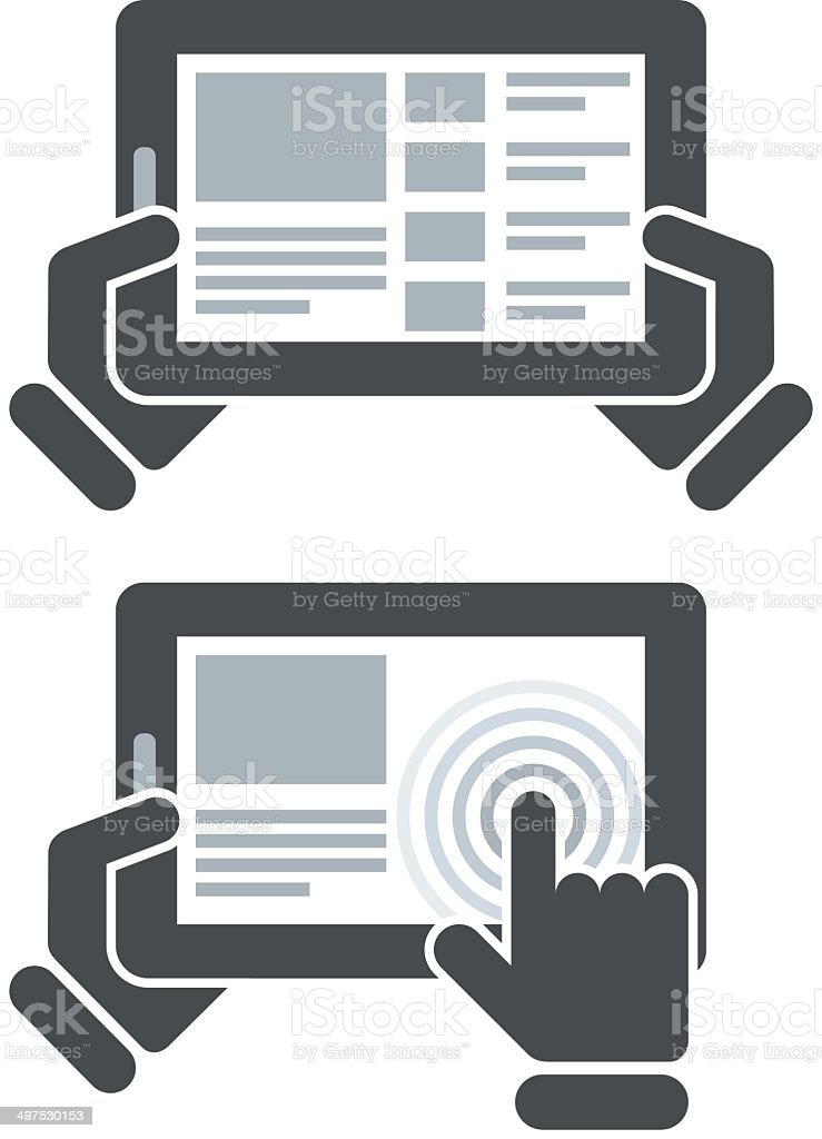 Hands holding tablet computer and open website vector art illustration
