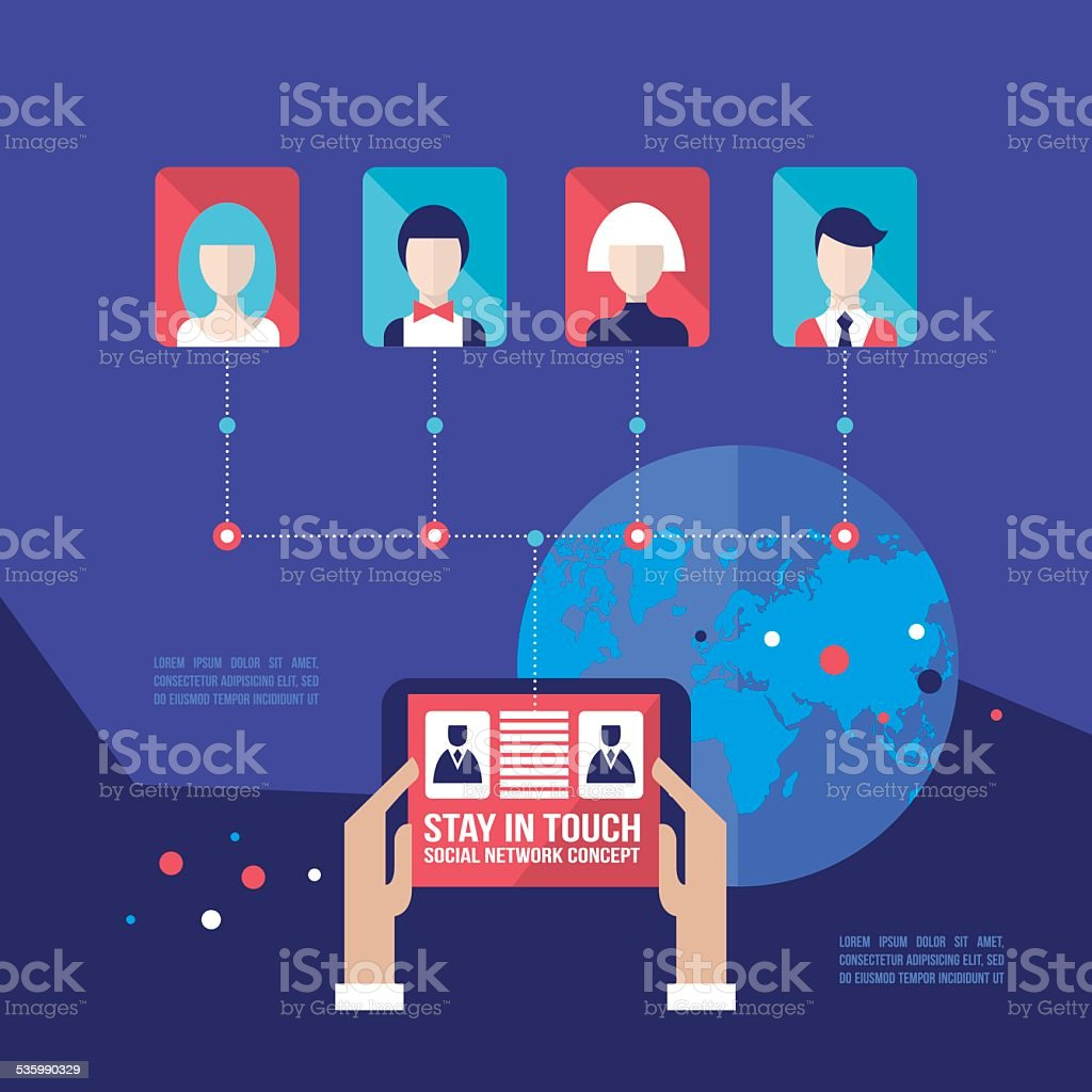 Hands holding tablet with web icons Social network Communication concept vector art illustration
