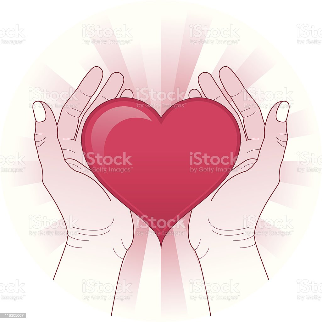 Hands holding the heart royalty-free stock vector art
