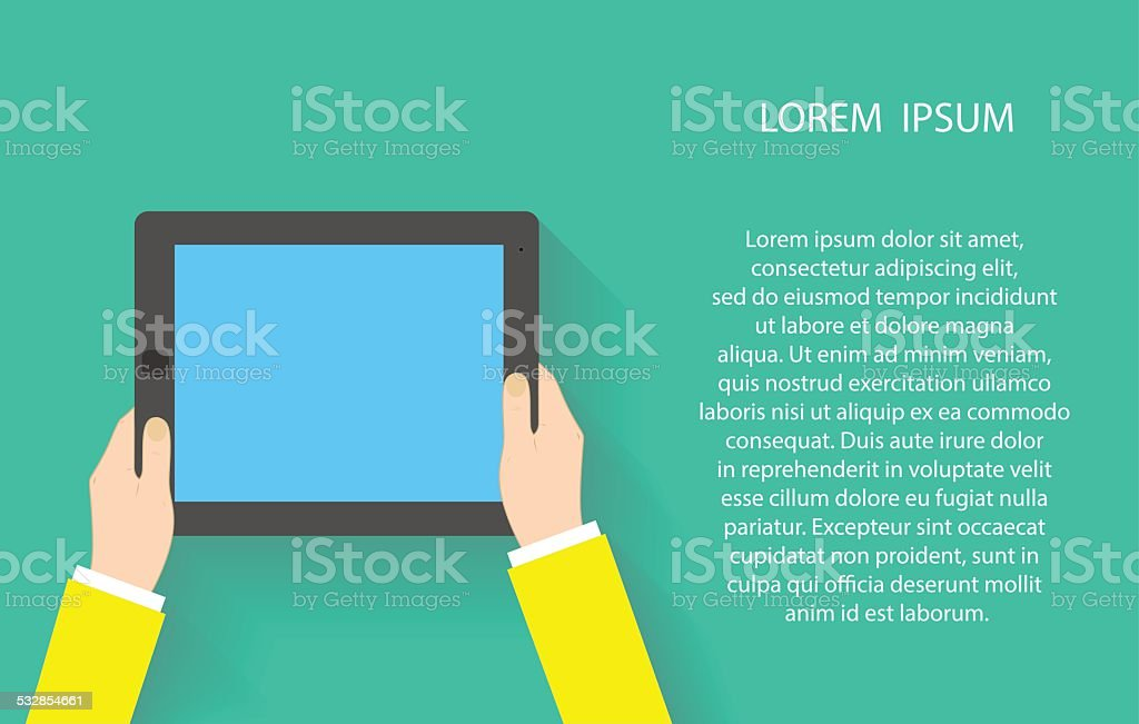 Hands holding touch screen tablet pc with blanc blue screen. vector art illustration