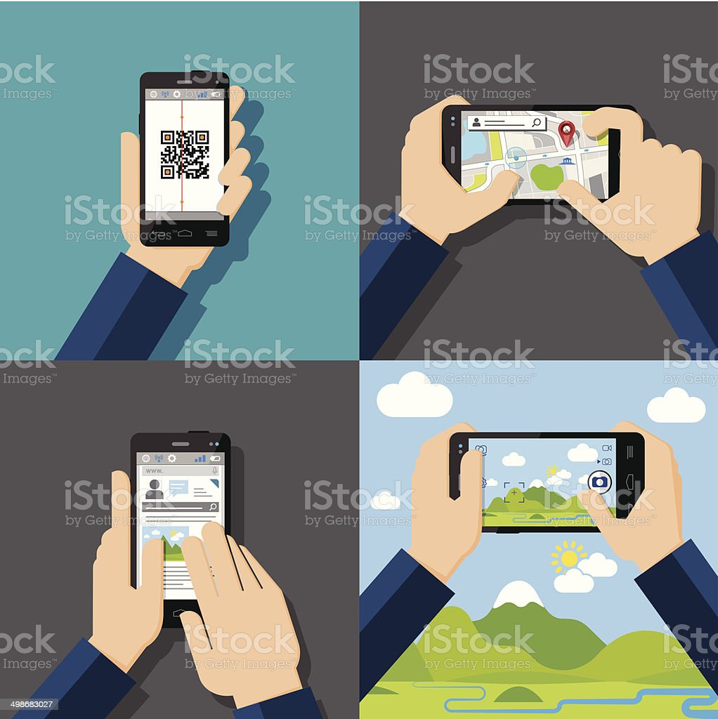 Hands holding touchscreen smartphones with applications on screens vector art illustration