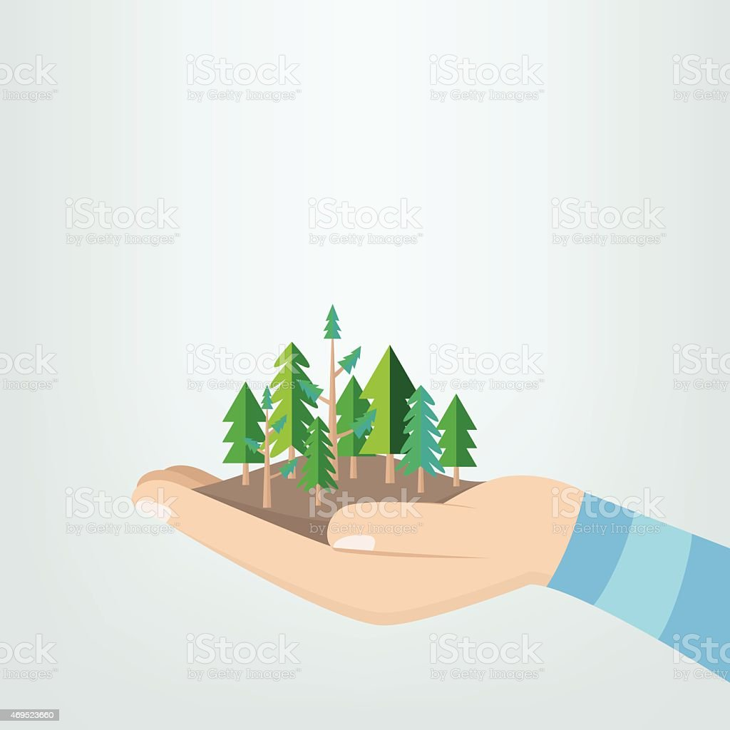 hands holding trees in flat retro style vector art illustration