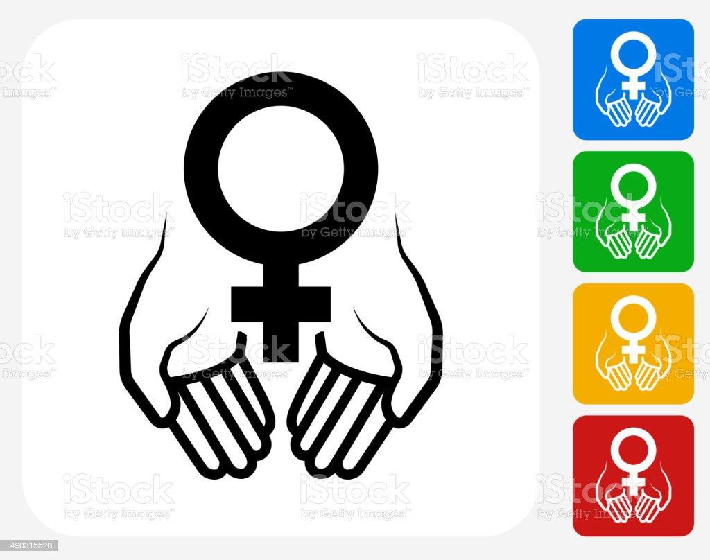 Hands Holding Venus Symbol Icon Flat Graphic Design vector art illustration