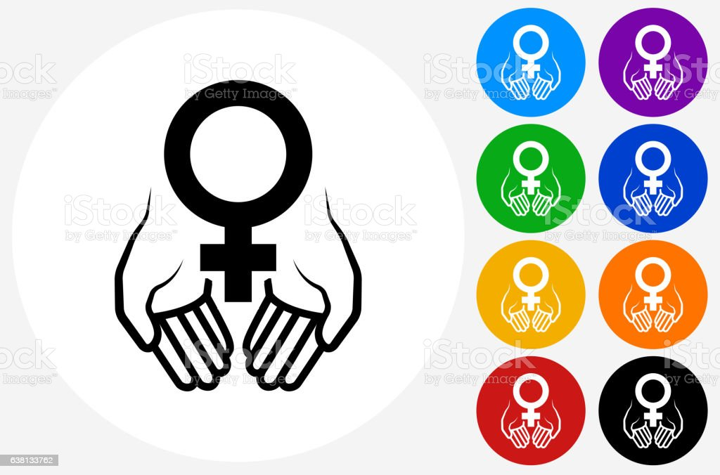 Hands Holding Venus Symbol Icon on Flat Color Circle Buttons vector art illustration