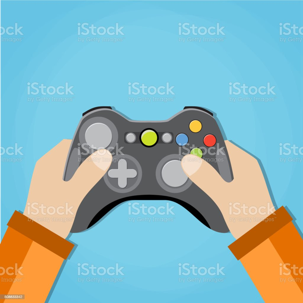 Hands holding wired old school gamepad. vector art illustration