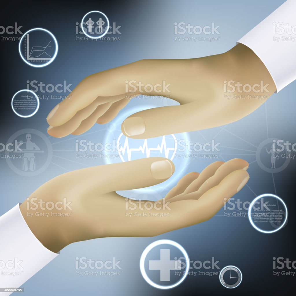 hands holding world medicine concept vector royalty-free stock vector art