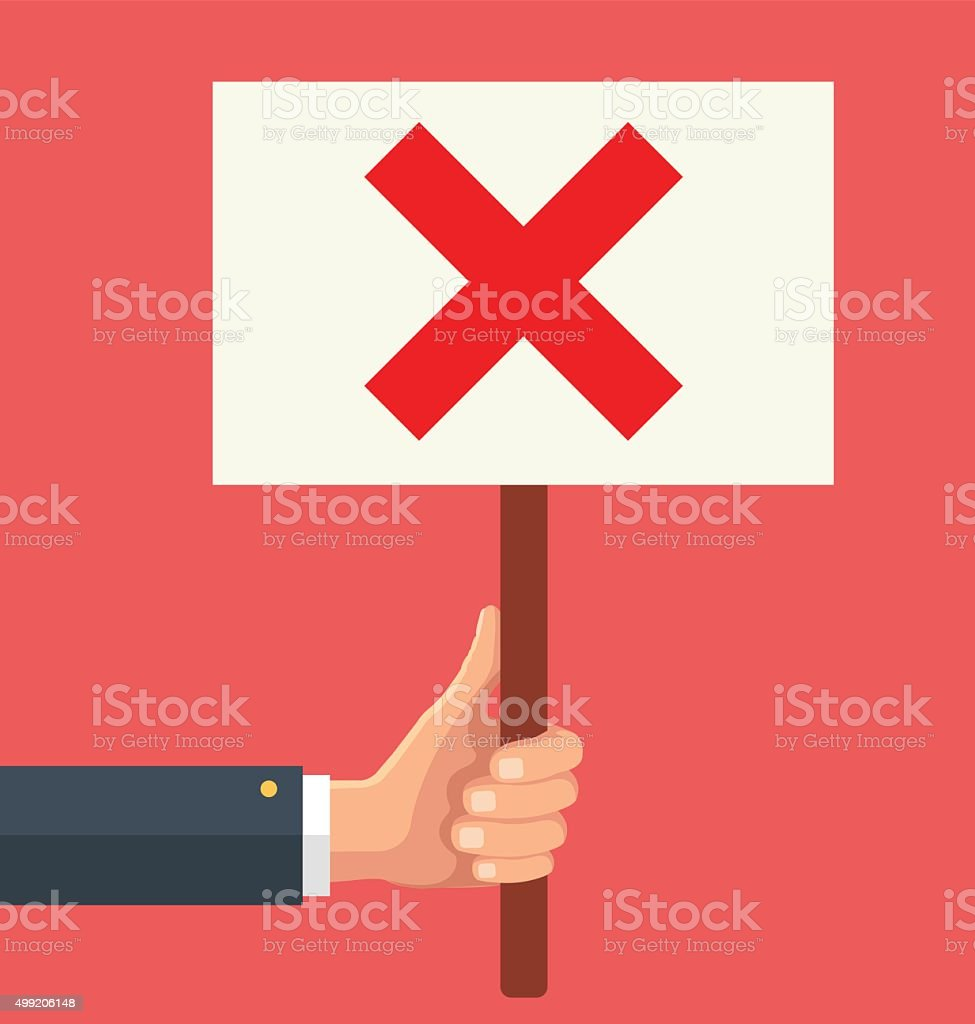 Hands holds sign with red cross vector art illustration