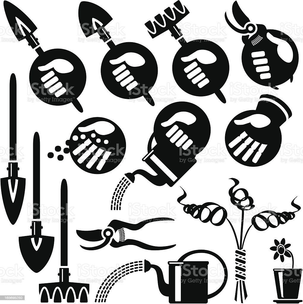 Hands Icons, Gardening royalty-free stock vector art