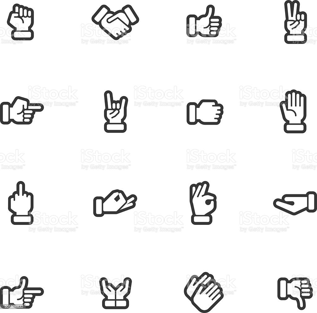 Hands icons - Regular Outline vector art illustration