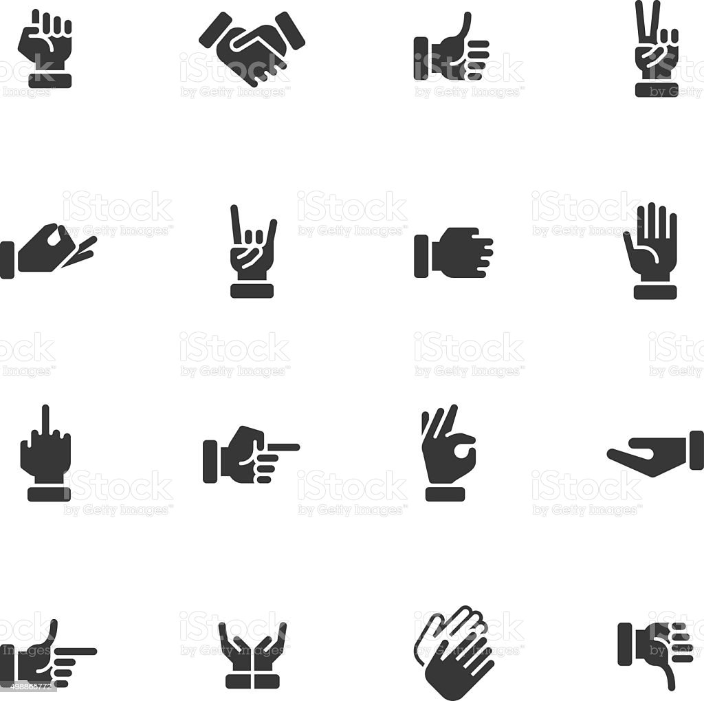 Hands icons - Regular vector art illustration