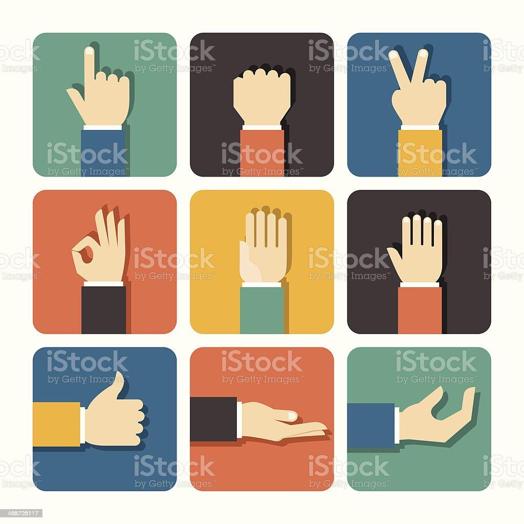 Hands Icons Set vector art illustration