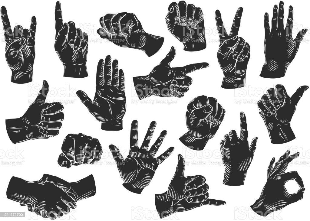 hands icons set. vector illustration vector art illustration