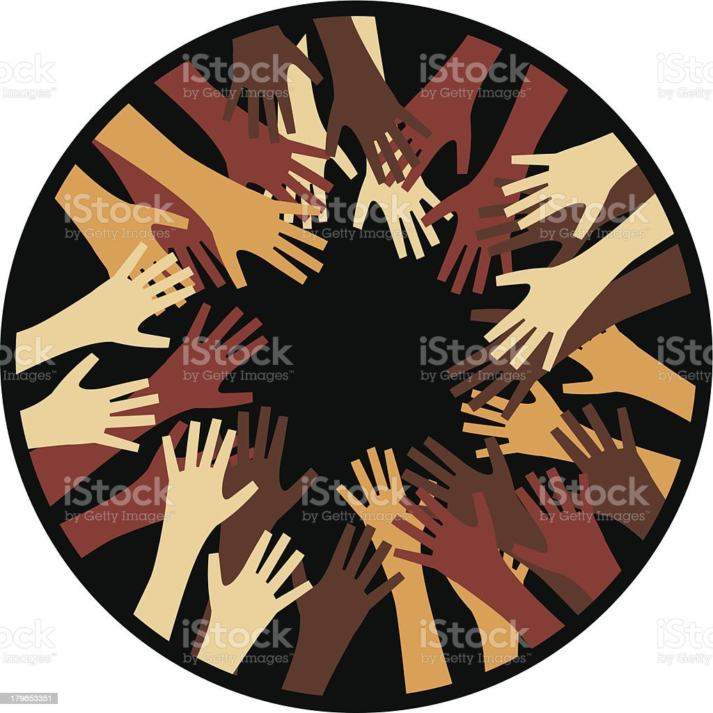 Hands In A Circle vector art illustration