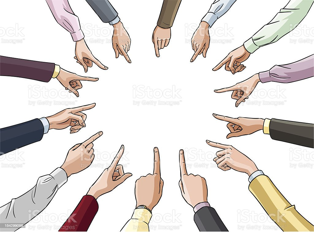 Hands in office clothes pointing to center royalty-free stock vector art