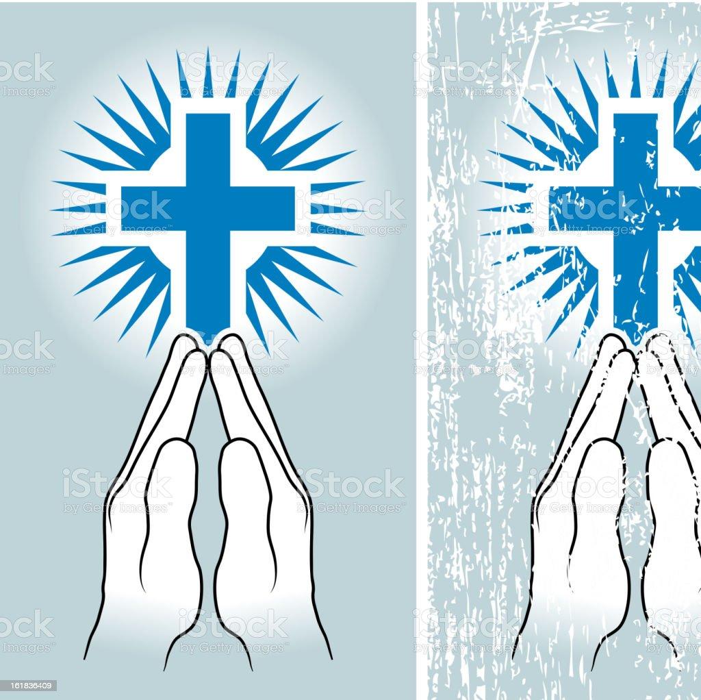 hands in prayer in front of cross royalty-free stock vector art