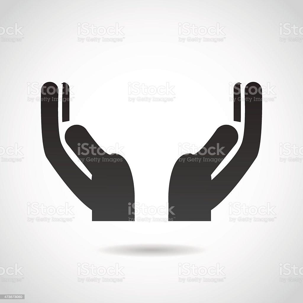 Hands in prayer. vector art illustration