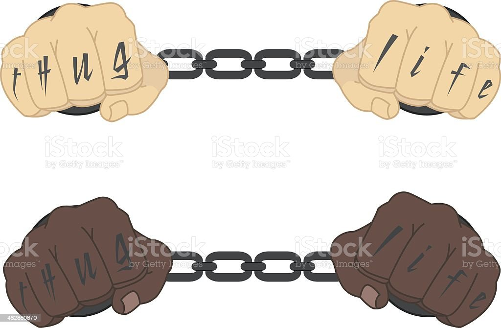 Hands in steel handcuffs with tattoo vector art illustration