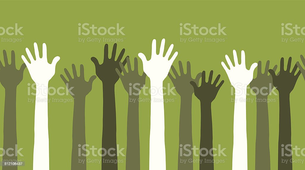 hands in the air seamless vector art illustration