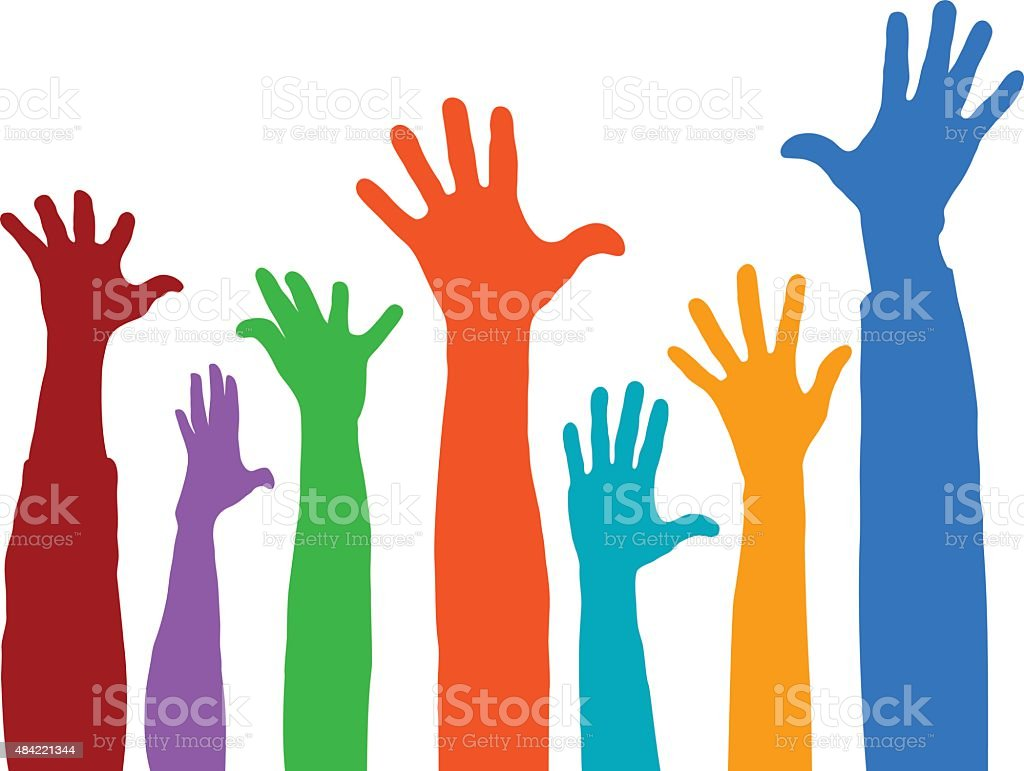 Hands in the Air vector art illustration
