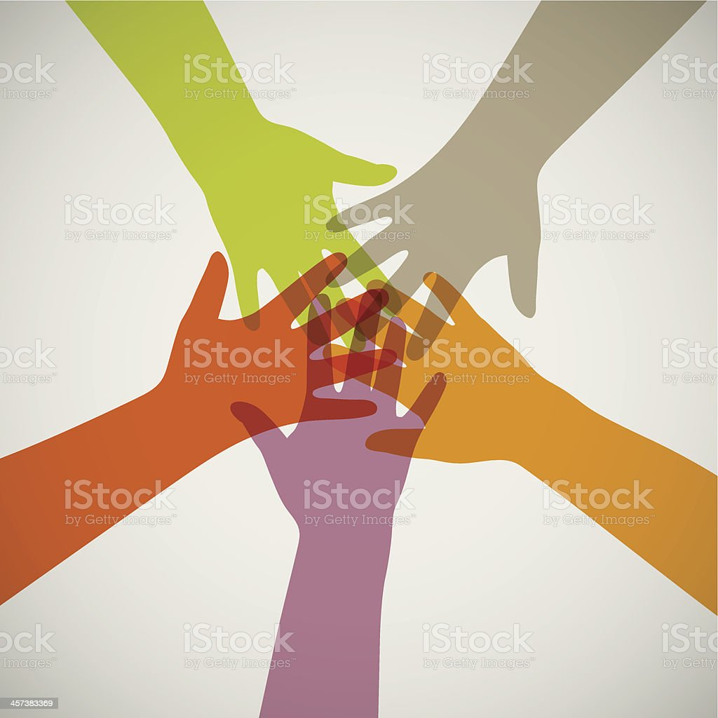 hands in unity vector art illustration