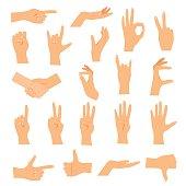 Hands in various gestures. Flat design modern vector