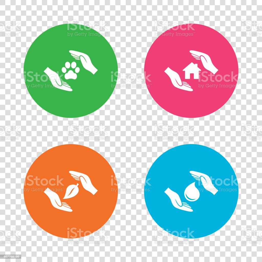 Hands insurance icons. Save water and nature. vector art illustration