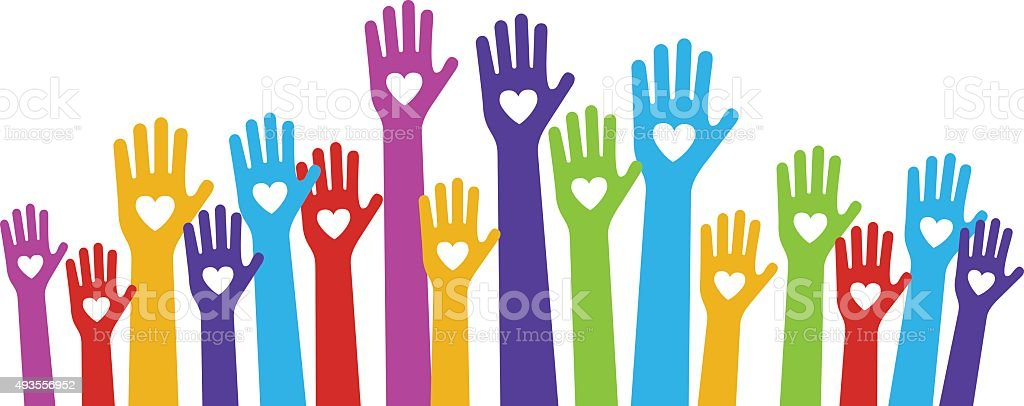 hands love color vector art illustration