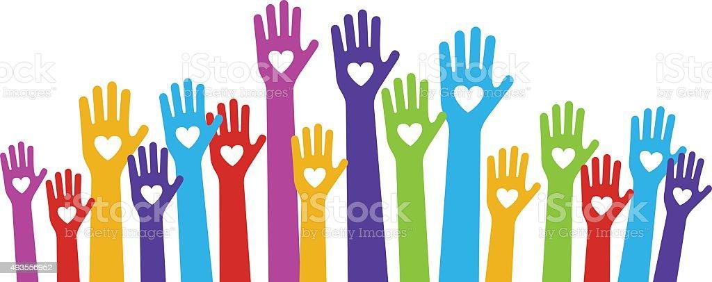 hands love color vector art illustration