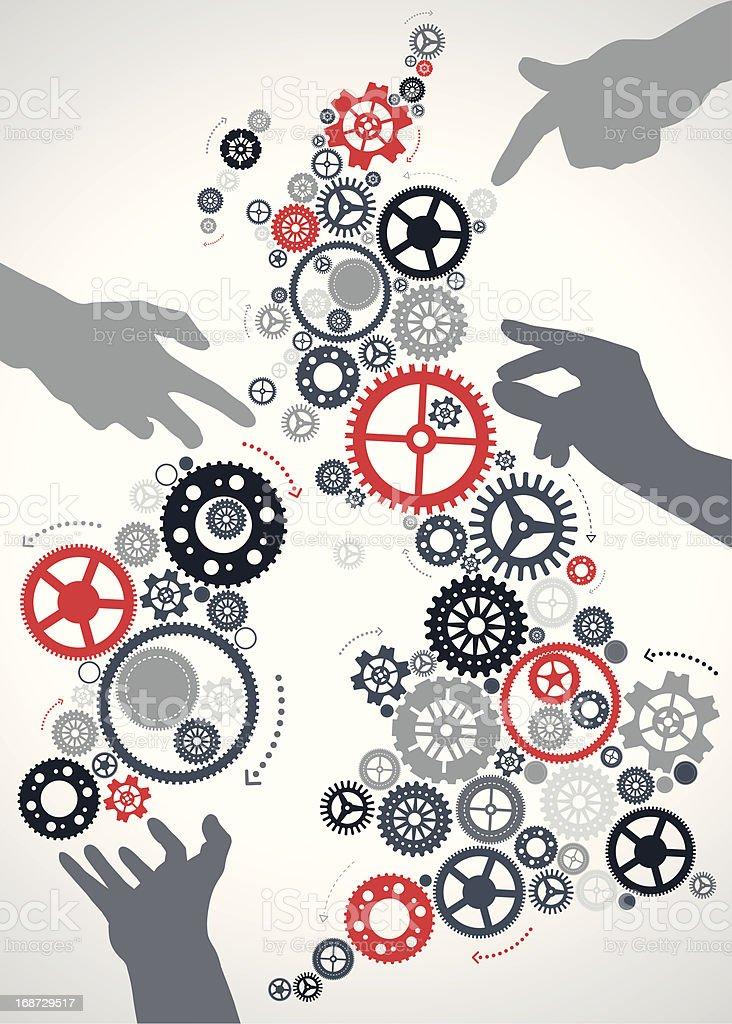 Hands make the UK work vector art illustration