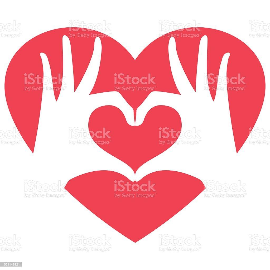 Hands making heart shape vector art illustration
